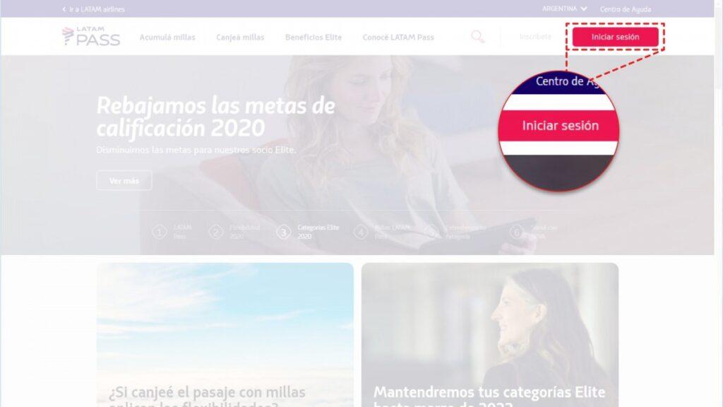 Sitio web de LATAM Argentina resaltando el botón de inicio de sesión para canjear millas latam