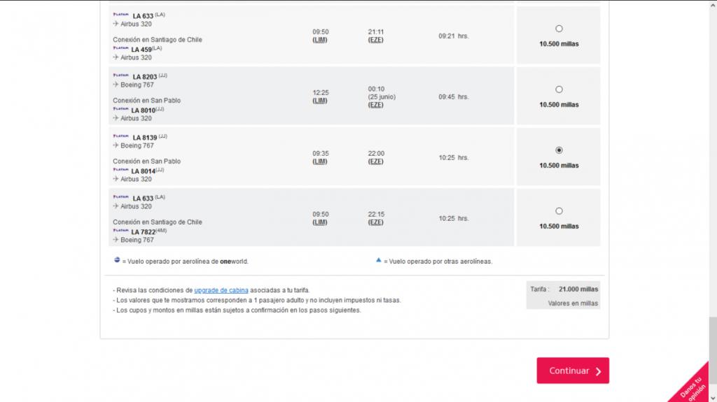 Pantalla con vuelos disponibles para la fecha seleccionada